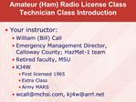 Amateur Ham Radio License Class Technician Class Introduction