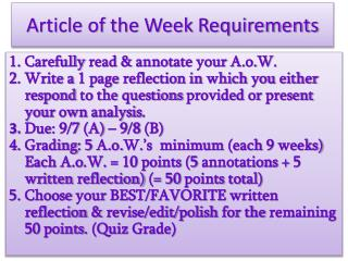 Article of the Week Requirements