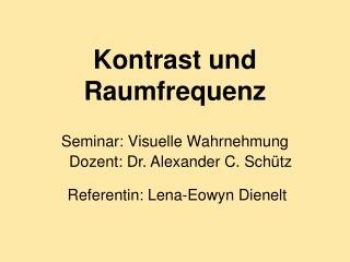 Kontrast und Raumfrequenz Seminar: Visuelle Wahrnehmung