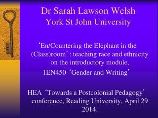 Dr Sarah Lawson Welsh York St John University
