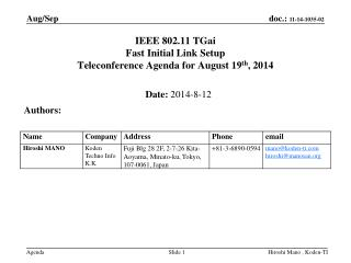 IEEE 802.11  TGai Fast Initial Link Setup  Teleconference Agenda  for August 19 th , 2014