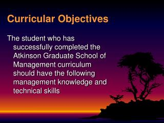Curricular Objectives