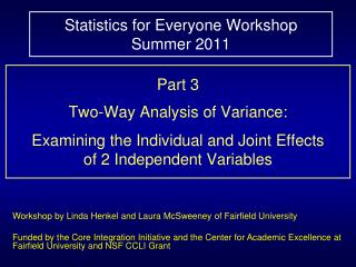 Statistics for Everyone Workshop  Summer 2011