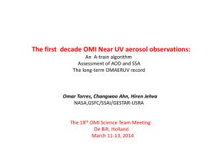 The first  decade OMI Near UV aerosol observations: