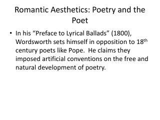 Romantic Aesthetics: Poetry and the Poet