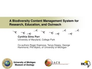 A Biodiversity Content Management System for Research, Education, and Outreach