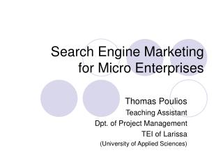 Search Engine Marketing for Micro Enterprises