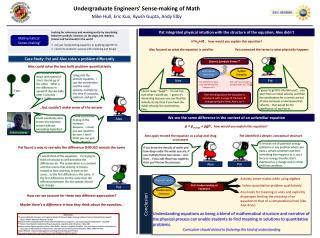Undergraduate Engineers' Sense-making of Math Mike Hull, Eric Kuo, Ayush Gupta, Andy Elby