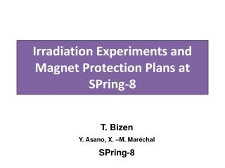 Irradiation Experiments and Magnet Protection Plans at SPring-8