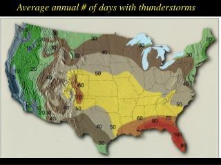 Average annual # of days with thunderstorms
