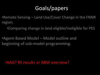 Goals/papers