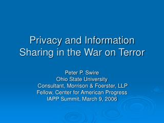 Privacy and Information Sharing in the War on Terror