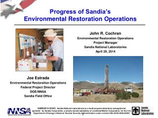Progress of Sandia's  Environmental Restoration Operations