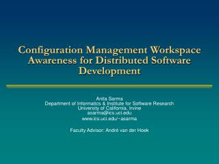 Configuration Management Workspace  Awareness for Distributed Software Development