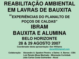 ASPECTOS DE AÇÕES AMBIENTAIS NA MINERAÇÃO DE BAUXITA