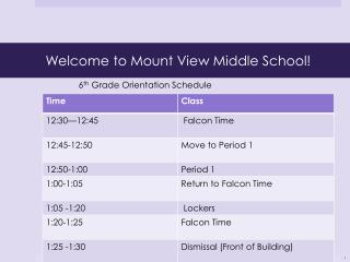 Welcome to Mount View Middle School!