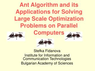 Stefka Fidanova Institute for Information and Communication Technologies