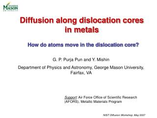 Diffusion along dislocation cores in metals
