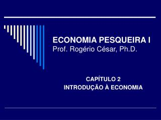 ECONOMIA PESQUEIRA I Prof. Rog�rio C�sar, Ph.D.