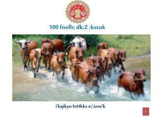 100 fnolh; dk;Z ;kstuk
