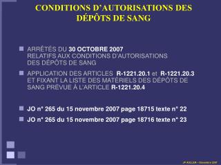 CONDITIONS D'AUTORISATIONS DES D ÉPÔTS DE SANG