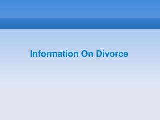 Information On Divorce