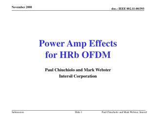 Power Amp Effects  for HRb OFDM
