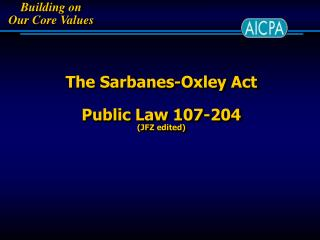 The Sarbanes-Oxley Act Public Law 107-204  (JFZ edited)