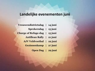 Landelijke evenementen juni