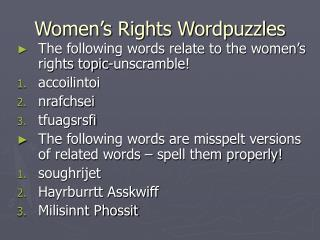 Women's Rights Wordpuzzles