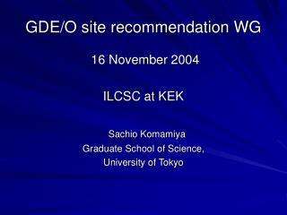 GDE/O site recommendation WG
