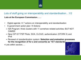 Lots of stuff going on interoperability and standardisation…1/2