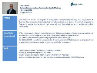 Enzo Olivieri Dottore Commercialista, Revisore Contabile Modena +393351048886 en.olivieri@alice.it