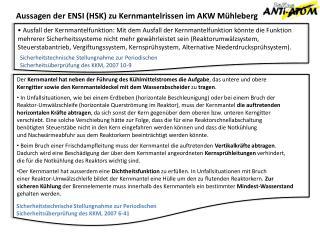 Aussagen der ENSI (HSK) zu Kernmantelrissen im AKW Mühleberg