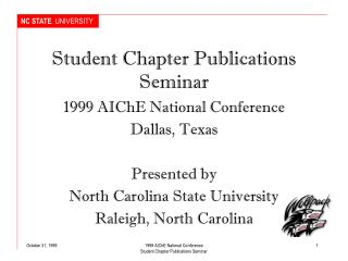 Student Chapter Publications Seminar
