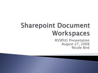 Sharepoint Document Workspaces