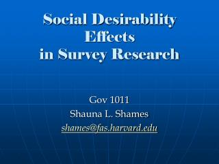 Social Desirability Effects in Survey Research
