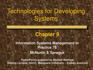 Technologies for Developing Systems