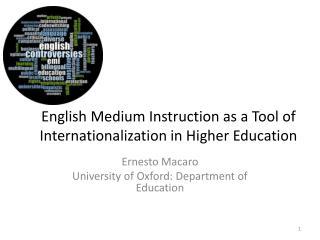 English Medium Instruction as a Tool of Internationalization in Higher Education