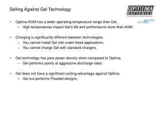 Selling Against Gel Technology