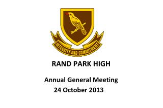 RAND PARK HIGH Annual General Meeting
