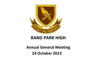 RAND PARK HIGH Annual General Meeting