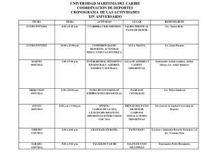 UNIVERSIDAD MARITIMA DEL CARIBE COORDINACIÓN DE DEPORTES CRONOGRAMA  DE LAS ACTIVIDADES
