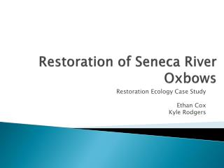 Restoration of Seneca River Oxbows