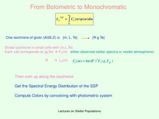 From Bolometric to Monochromatic