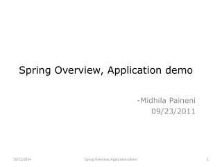 Spring Overview, Application demo