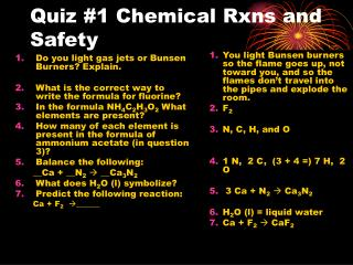 Quiz #1 Chemical Rxns and Safety