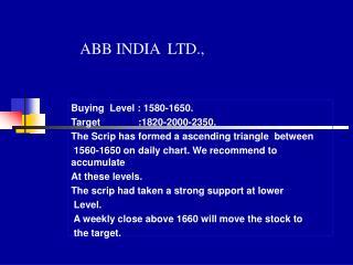 ABB INDIA  LTD.,