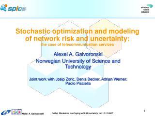 Alexei A. Gaivoronski Norwegian University of Science and Technology