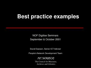 A  Best practice examples